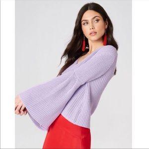 Free People Damsel black bell sleeve knit sweater